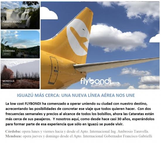 Flybondi une Iguazú con Córdoba y Mendoza - Iemanja
